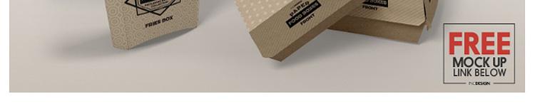 快餐外卖包装盒披萨汉堡全家桶VI贴图样机PS效果图PSD刀模图模板