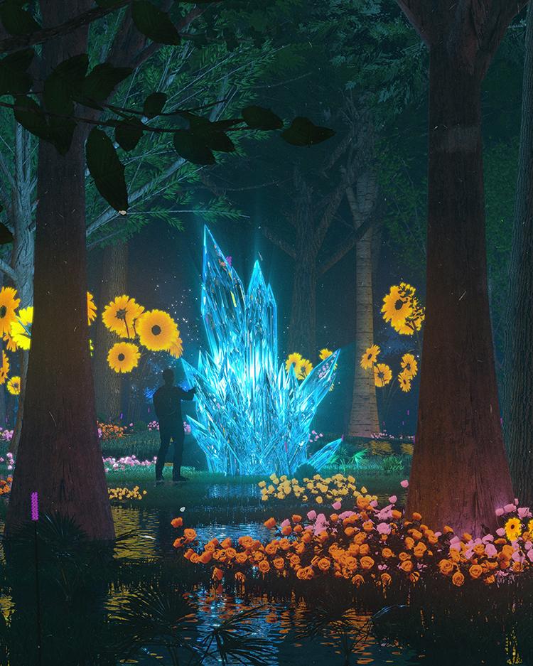 C4D 3D科幻创意森林中发光的水晶带材质贴图设计参考三维模型