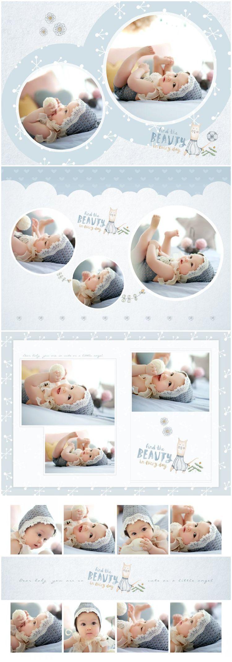 展会儿童宝宝摄影PSD分层相册模版素材唯美简约可爱设计后期竖版