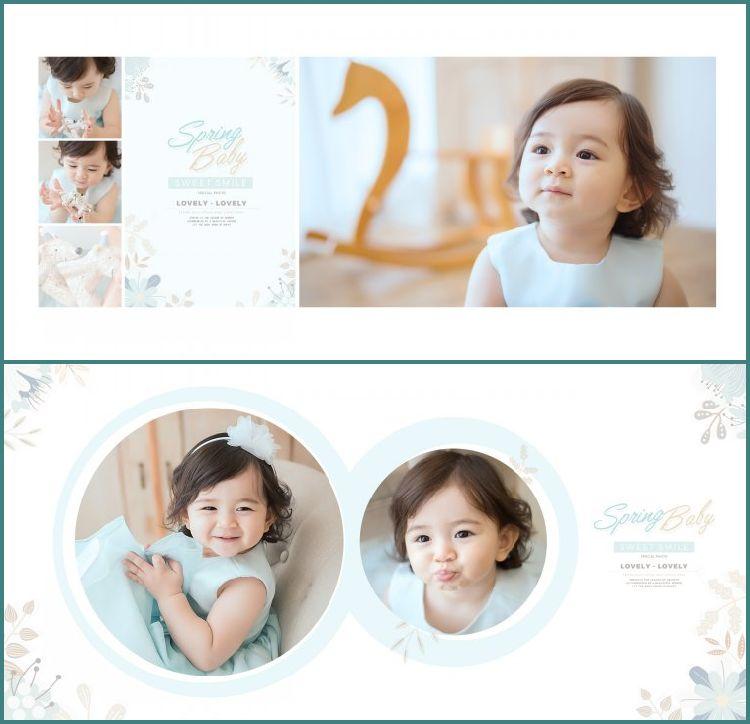 展会10寸方版儿童可爱宝宝PSD分层相册模版影楼素材简约设计