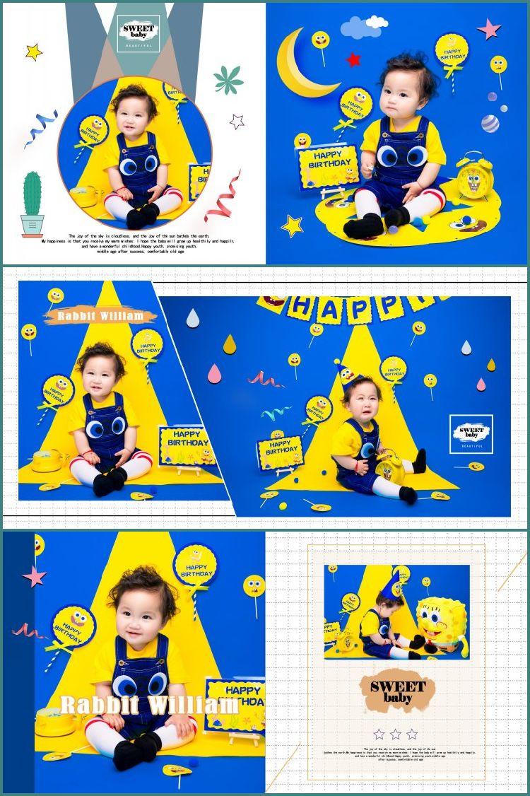潮童儿童海绵宝宝相册PSD分层模版写真艺术样照样册影楼后期修图