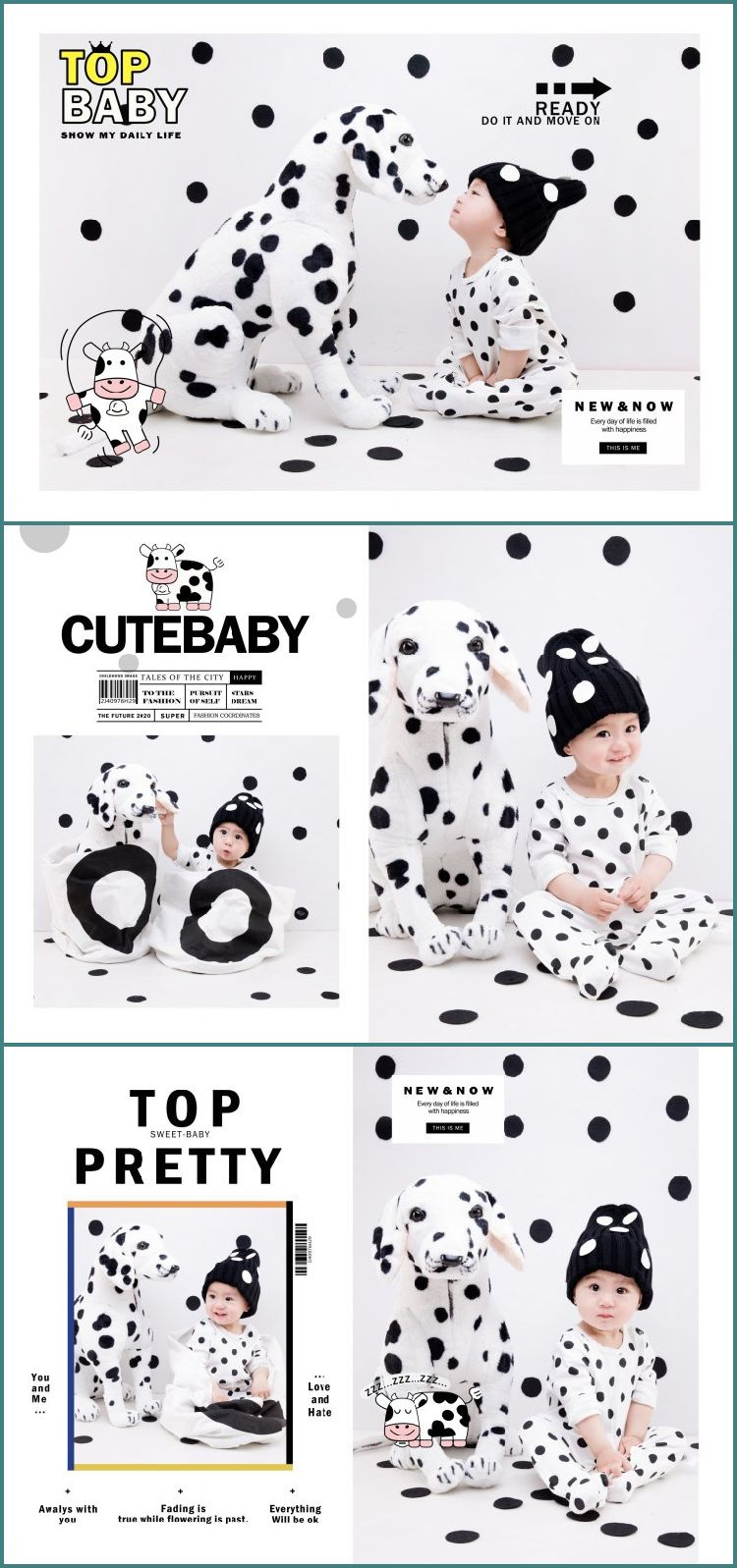 儿童宝宝PSD竖版相册时尚新潮杂志风写真文字模版摄影楼样片素材