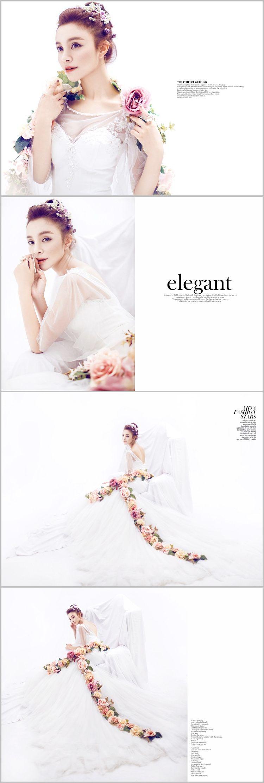 韩式唯美婚纱摄影写真情侣艺术照放大样片设计样册PSD模版纯色竖