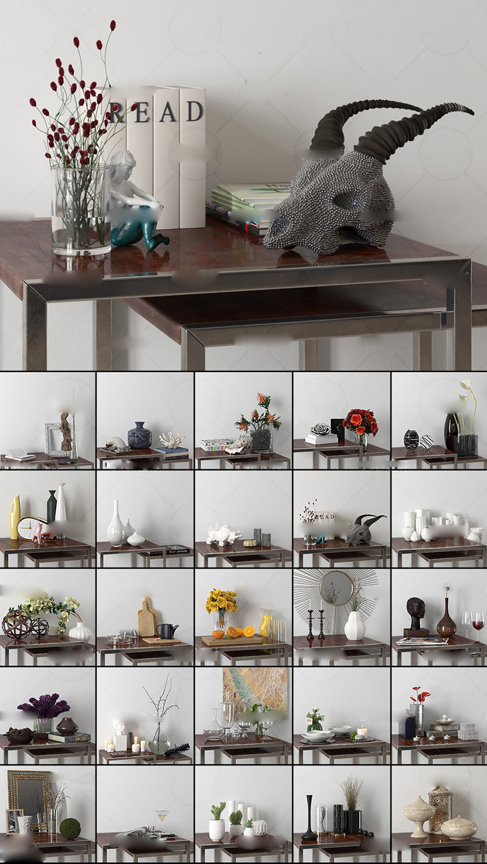 44个室内工艺品摆件装饰品C4D模型合