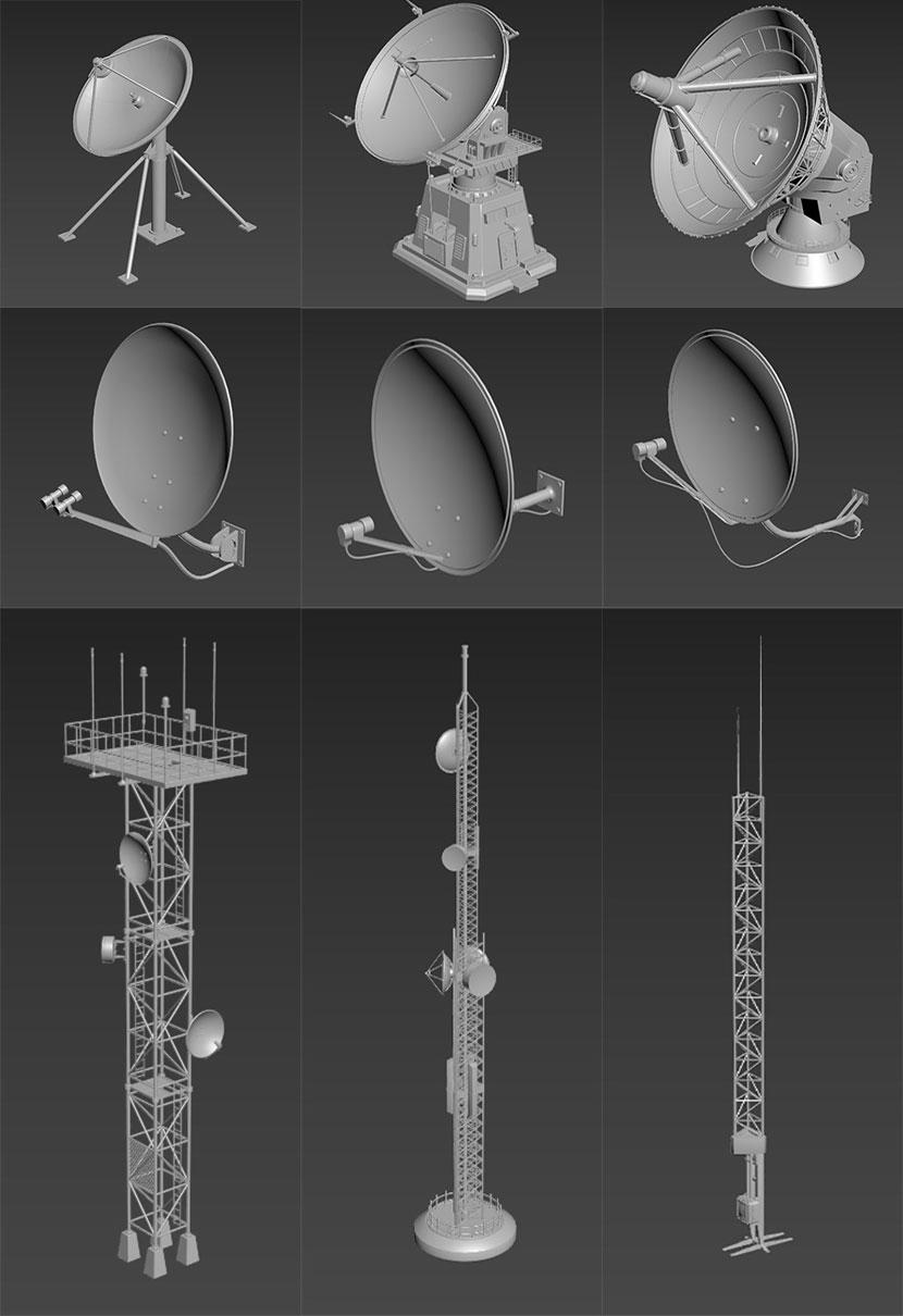 20个卫星天线通信信号接收发送设备C4D模型合集