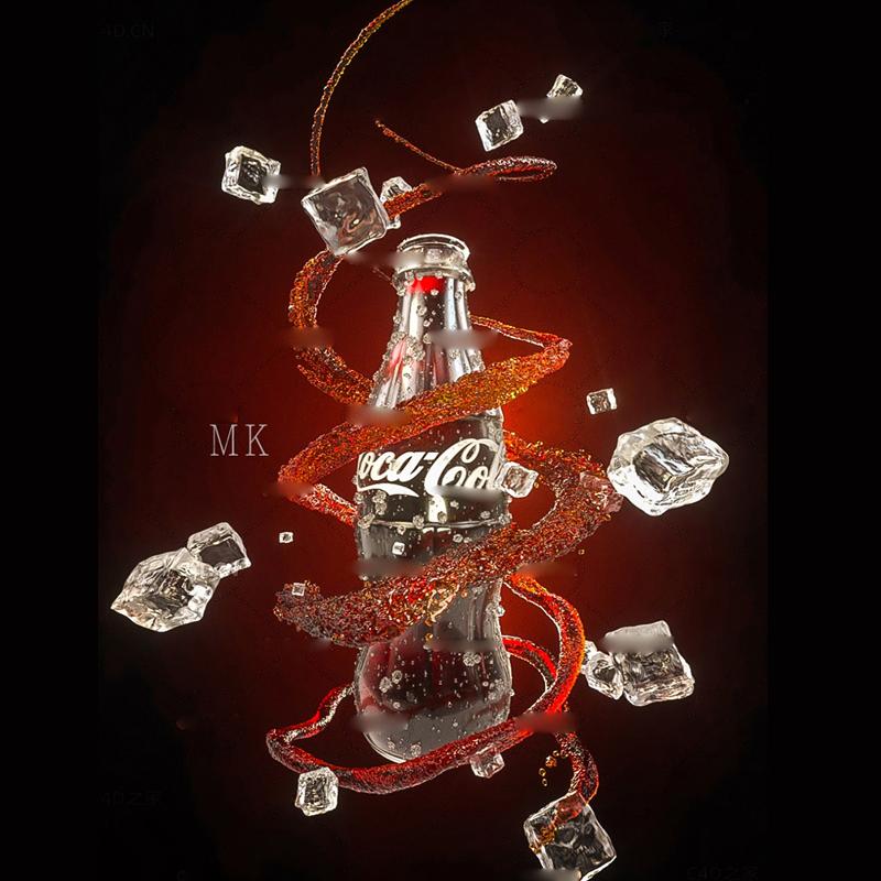 可口可乐流体海报广告C4D OC模型流体水注水柱冰块水珠