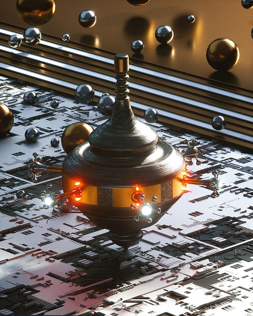 旋转的科幻陀螺仪C4D OC动画工程创意场景3D模型素材