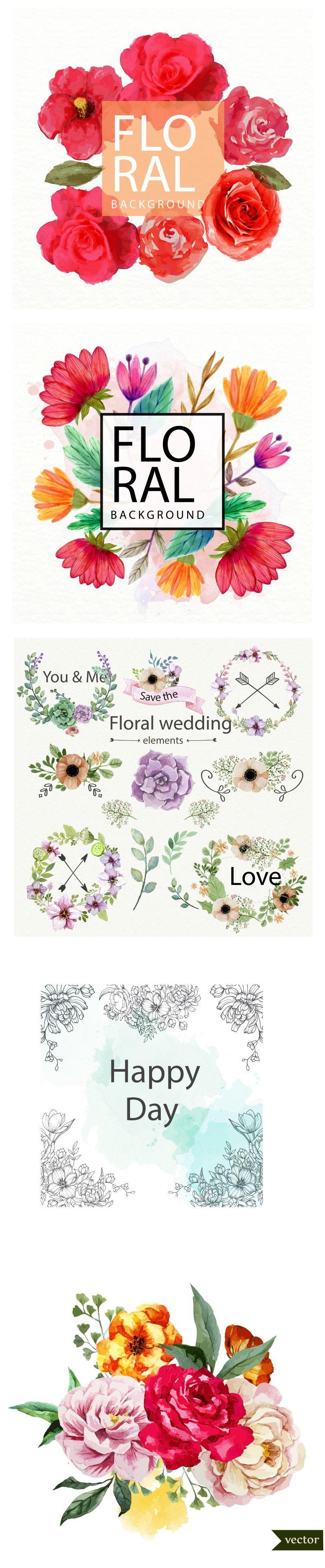 手绘花卉繁花彩色花丛薇拉分层设计PSD背景模版英文艺术字体海报