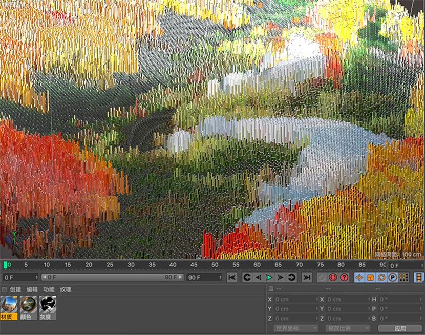 C4D克隆的微观世界 像素世界工程文件创意场景3D模型素材