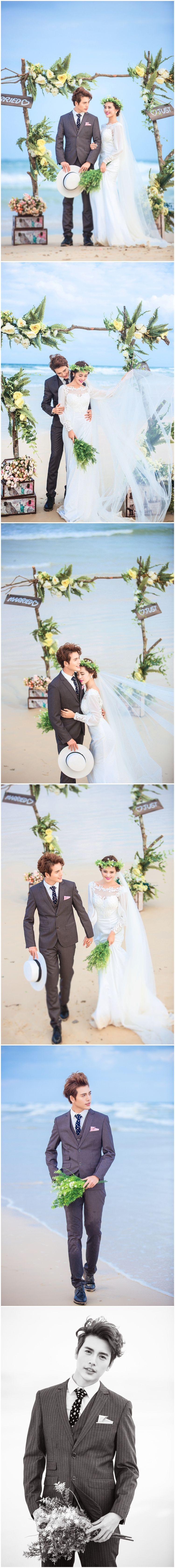 婚纱样片唯美白纱海边蓝天白云海滩沙滩新娘情侣写真放大样照图片