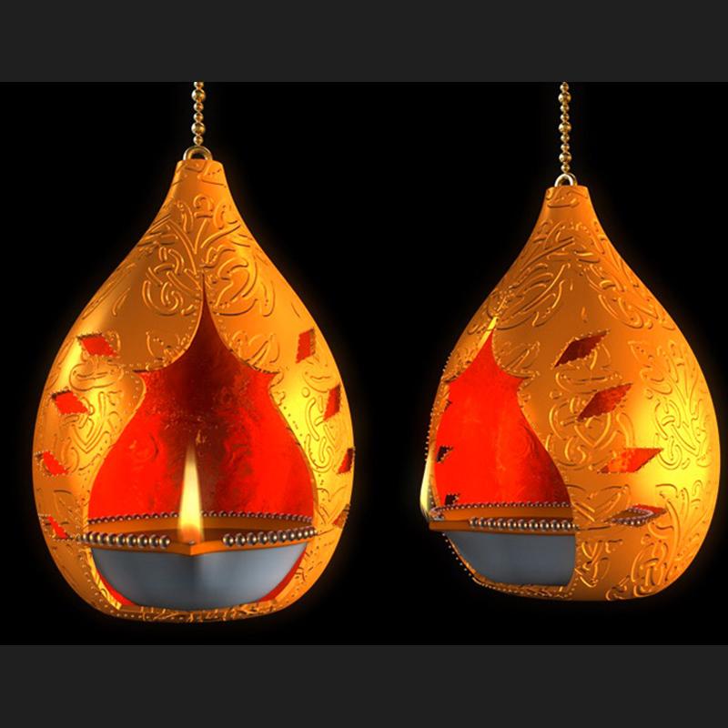 印度佛教寺庙灯盏 佛教灯盏 油灯C4D模型创意场景3D模型素材