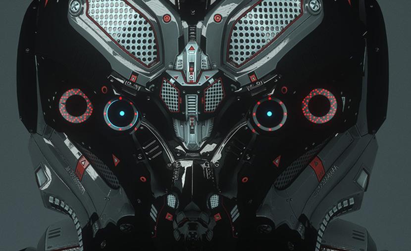 科技类机械头盔钢铁机械头盔C4D OC动画工程创意场景3D模型