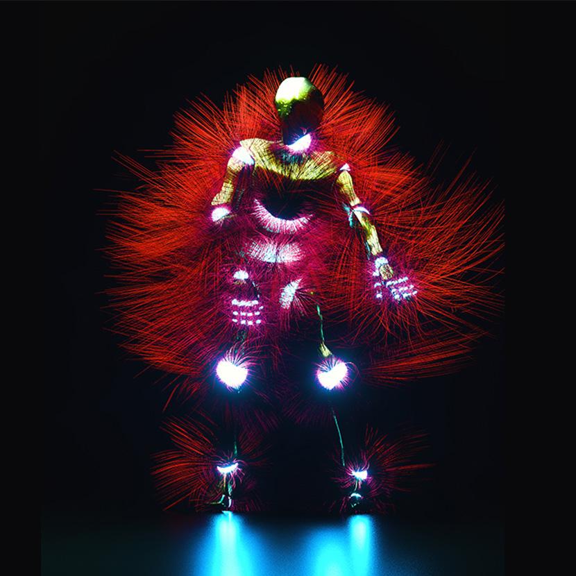 摇摆跳舞的发光机器人C4D OC工程创意场景3D模型素材