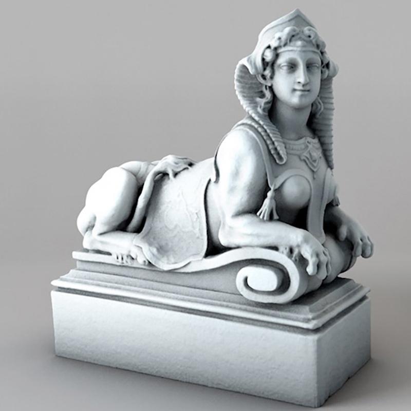 埃及女性雕像 狮身人面像雕塑C4D模型石膏像创意场景3D素材