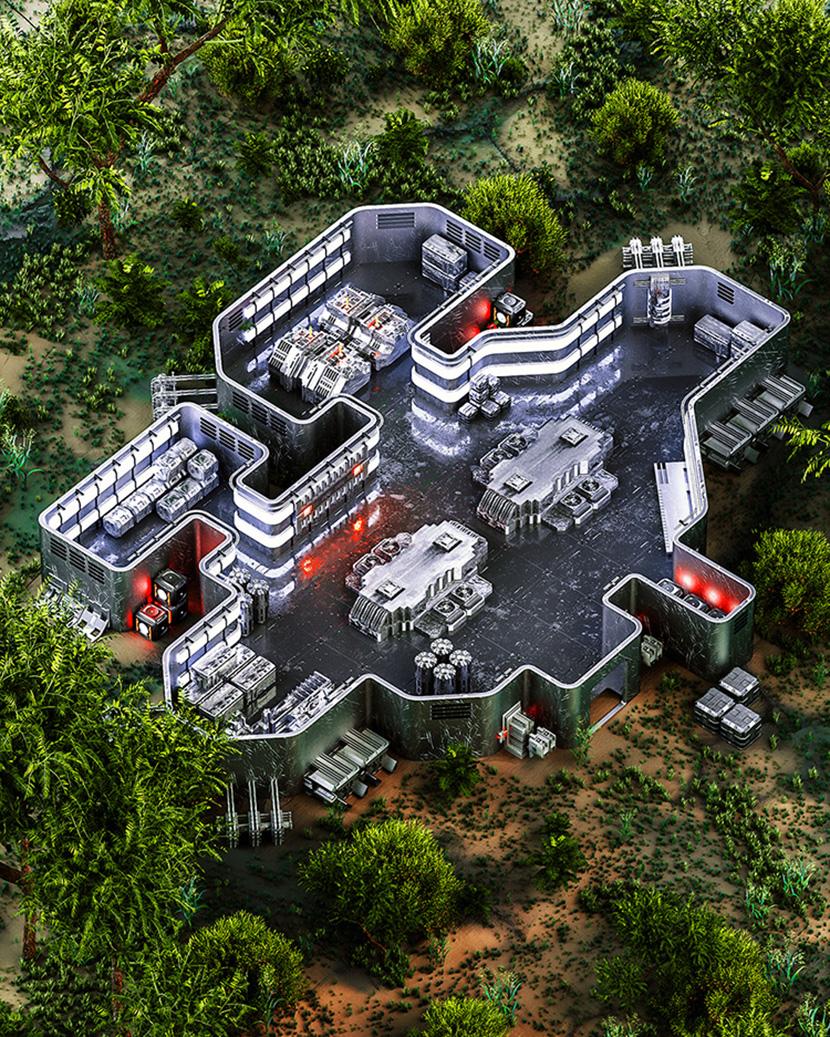 室外树丛中的科幻金属设备C4D OC工程创意场景3D模型素材