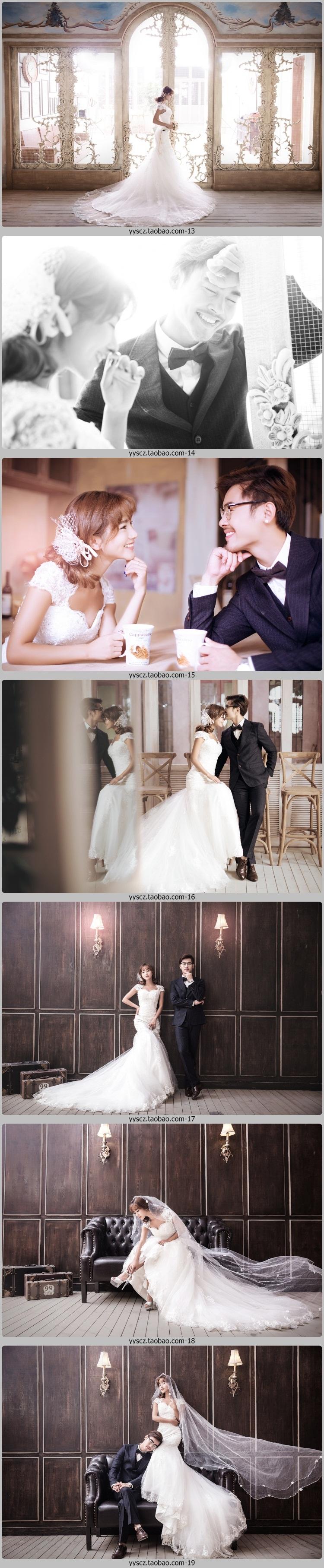 展会婚纱影楼摄影情侣写真放大样片韩式內景实景背景拍摄样照素材