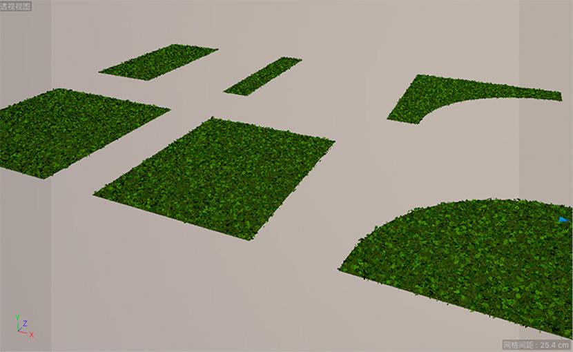 不同形状的景观草坪模型 三叶草草坪C4D模型创意场景3D素材