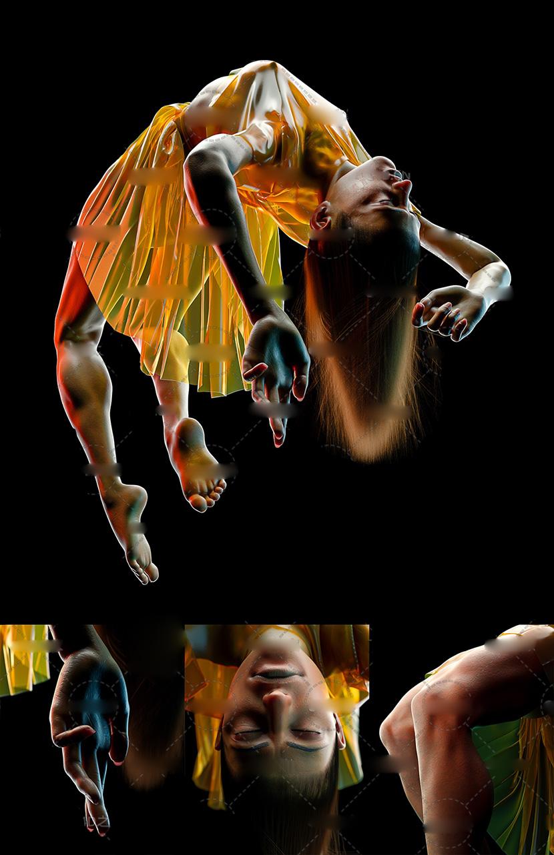 C4D Redshift模型穿透明塑料衣的悬浮女性