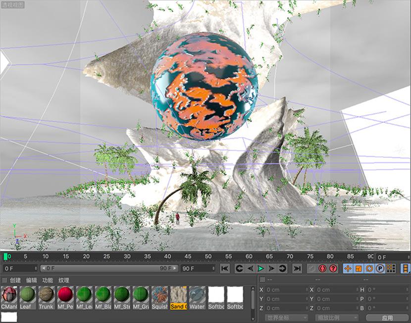 C4D海边礁石微缩景观创意工程创意场景3D模型素材