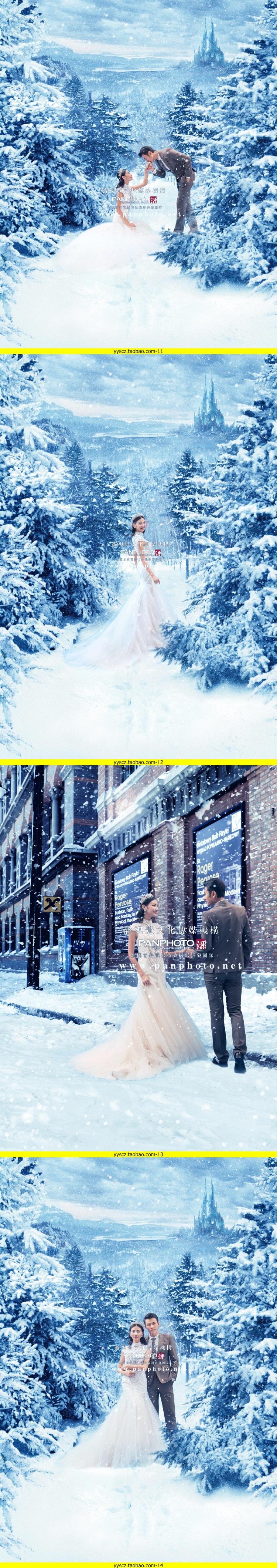 奇幻唯美冰雪奇缘4D换背景单片PSD模版摄影后期排版修片设计素材