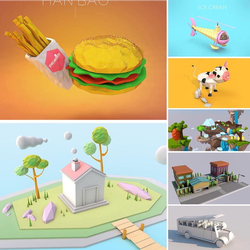 C4D LowPoly模型低平多边形卡通场景动画建筑房屋工程3D素材