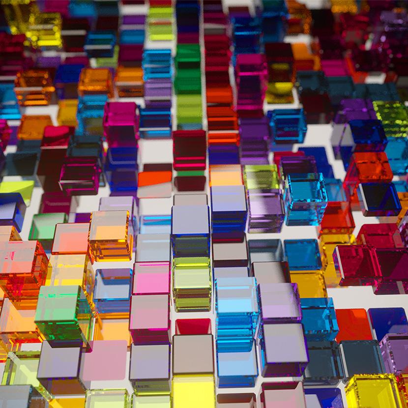 C4D Corona渲染器七彩透明玻璃方块创意工程创意场景3D素材