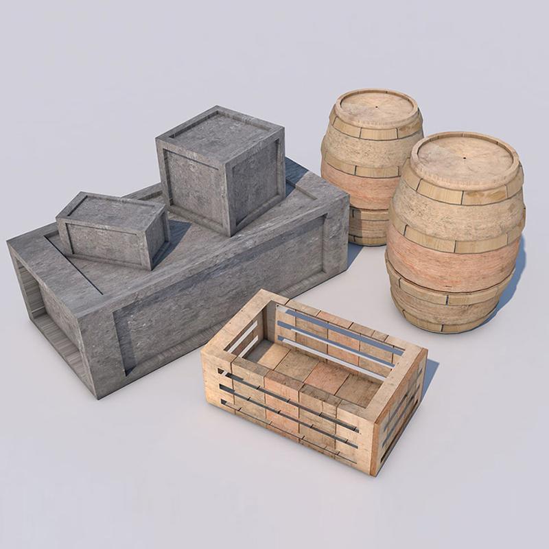 木桶木箱红酒桶C4D模型3D素材带材质贴图