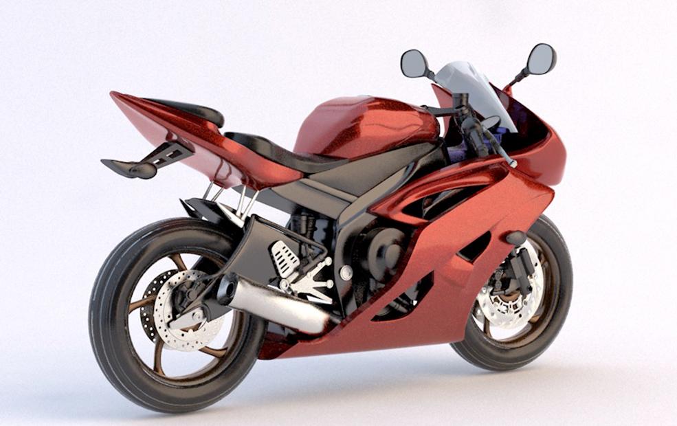 红色机动车摩托车车型渲染C4D模型纹理材质贴图3D三维素材
