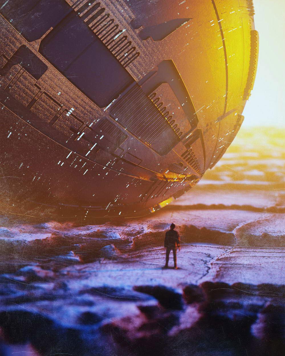Octane素材渲染降落外星球巨大宇宙飞船灯光场景C4D模型工程