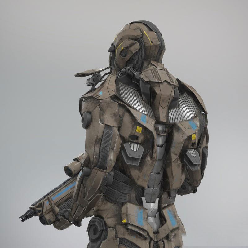 C4D FBX科幻机械机器人战甲战士兵武器动画绑定骨骼三维模型