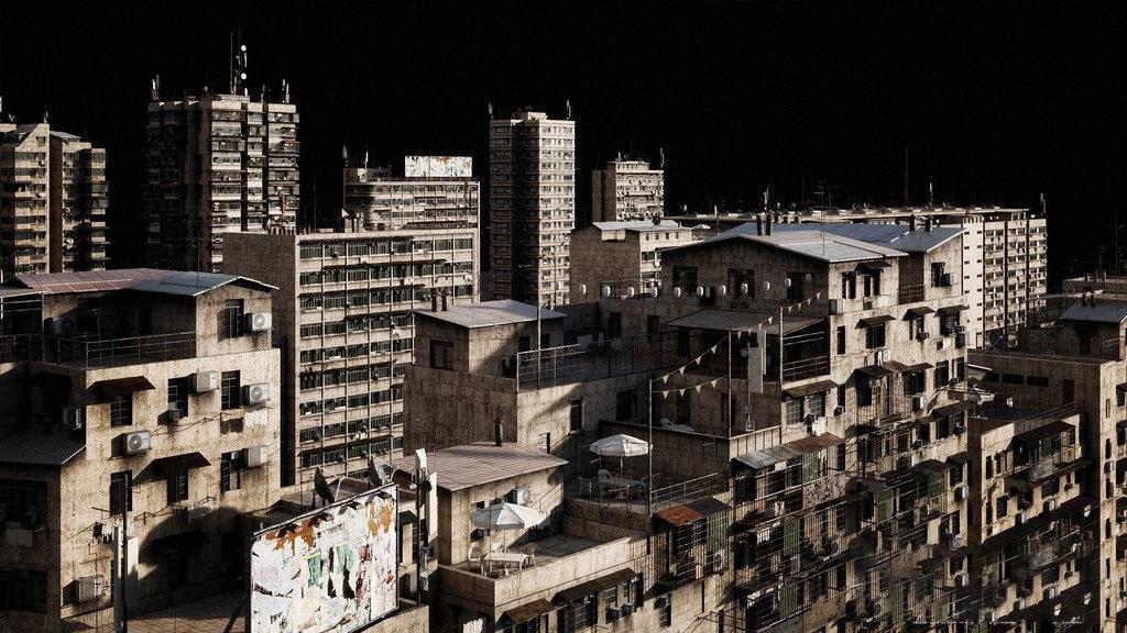 C4D FBX OBJ贫民窟棚户区废旧破旧建筑大楼场景模型三维素材
