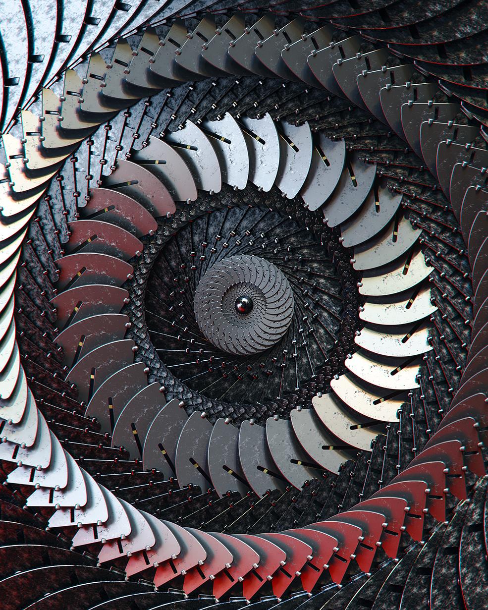 C4D旋转金属机械机器叶片动作场景环境模型工程3D三维素材