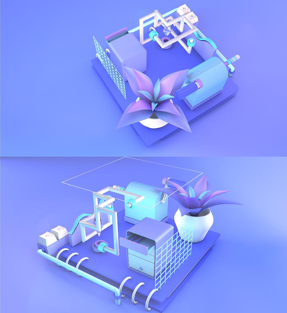 C4D工程3D卡通电商元素海报概念灯光小场景背景摆件模型素材