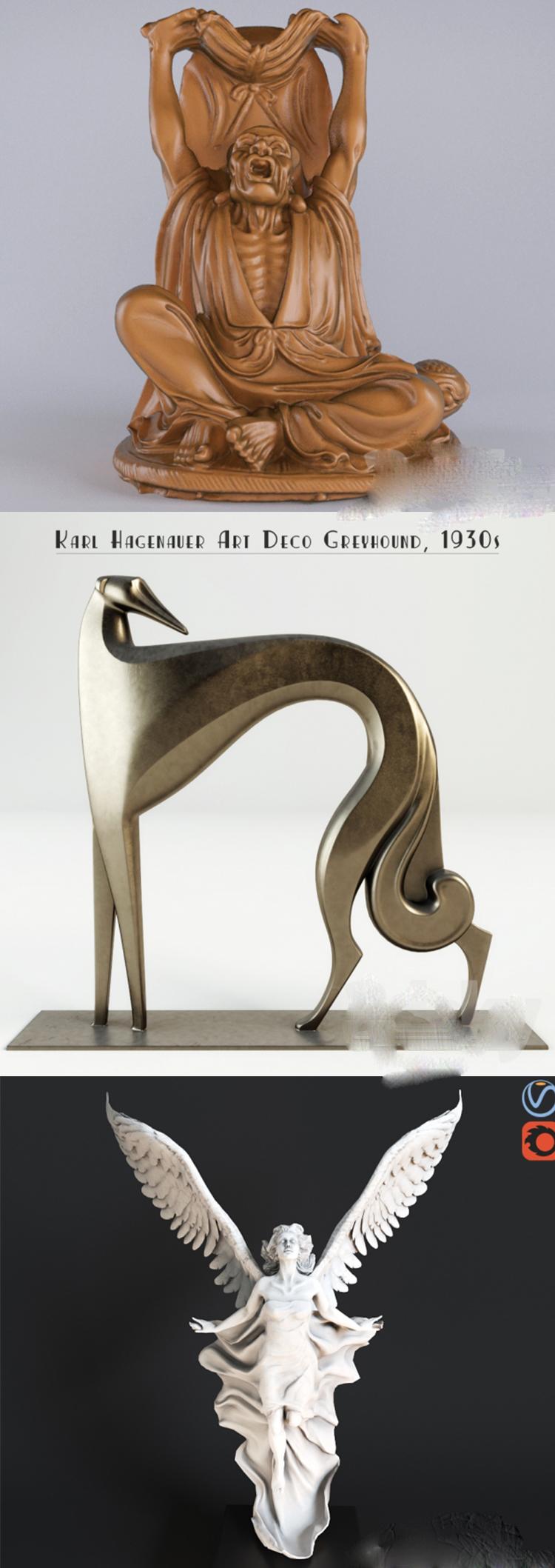 C4D OBJ雕刻塑像人物动物十字架犀牛狮子老虎灯盏装饰3D模型