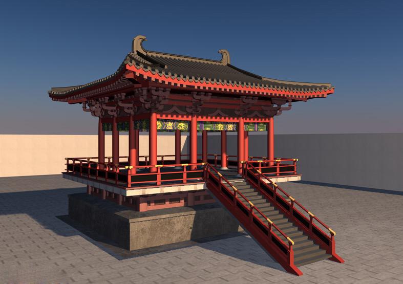 C4D MAX 3DS中国古典景观建筑房屋中式阁楼凉亭模型材质贴图