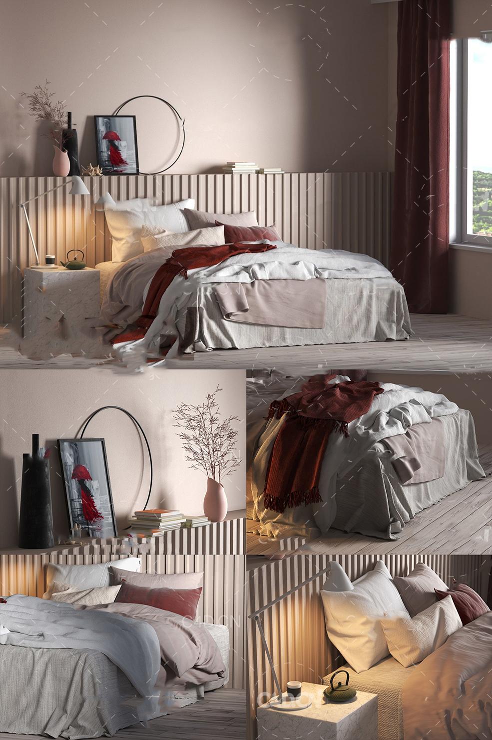 C4D VR MAX FBX OBJ小清新室内床上用品渲染房间卧室模型