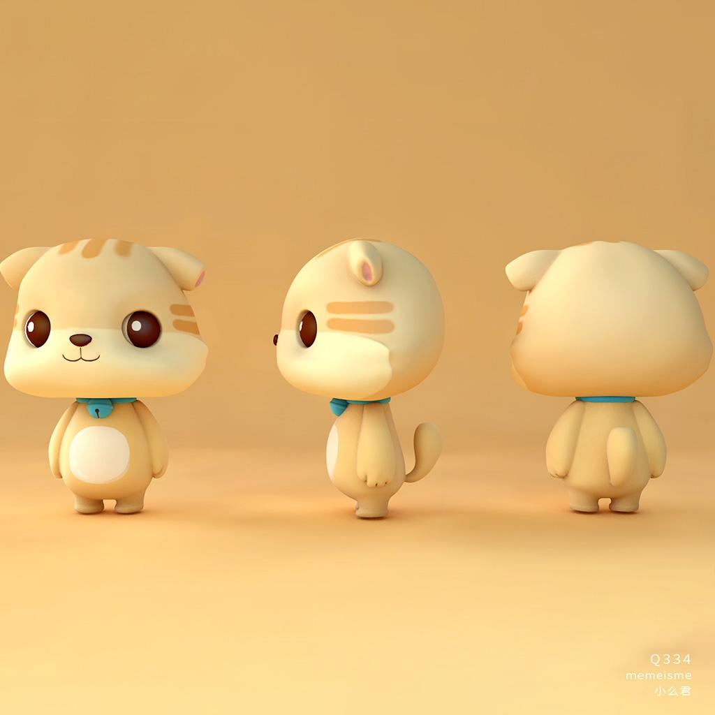 小狗模型卡通可爱宠物动物C4D obj材质纹理贴图场景环境