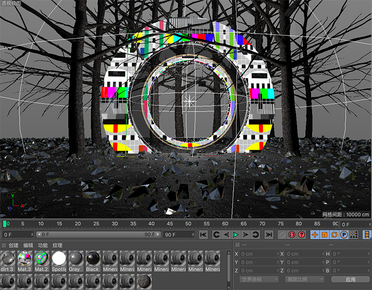 C4D电视无信号创意工程科幻场景创意场景3D模型素材