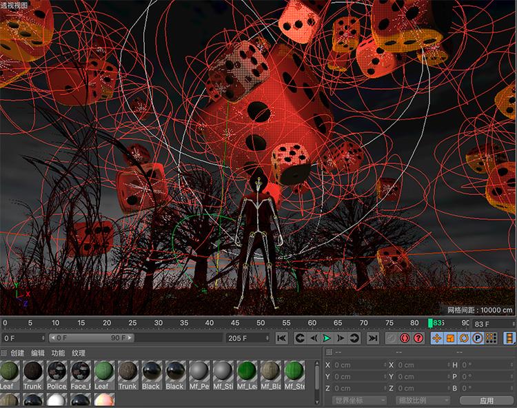 C4D骰子满天飘创意工程创意场景3D模型素材