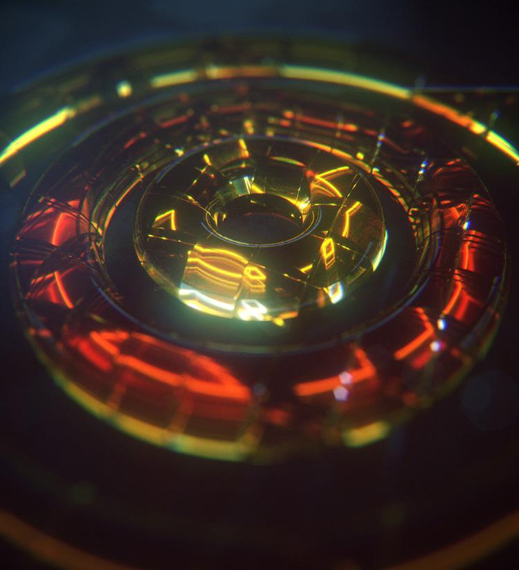透明圆环破碎动画C4D OC工程创意场景3D模型素材