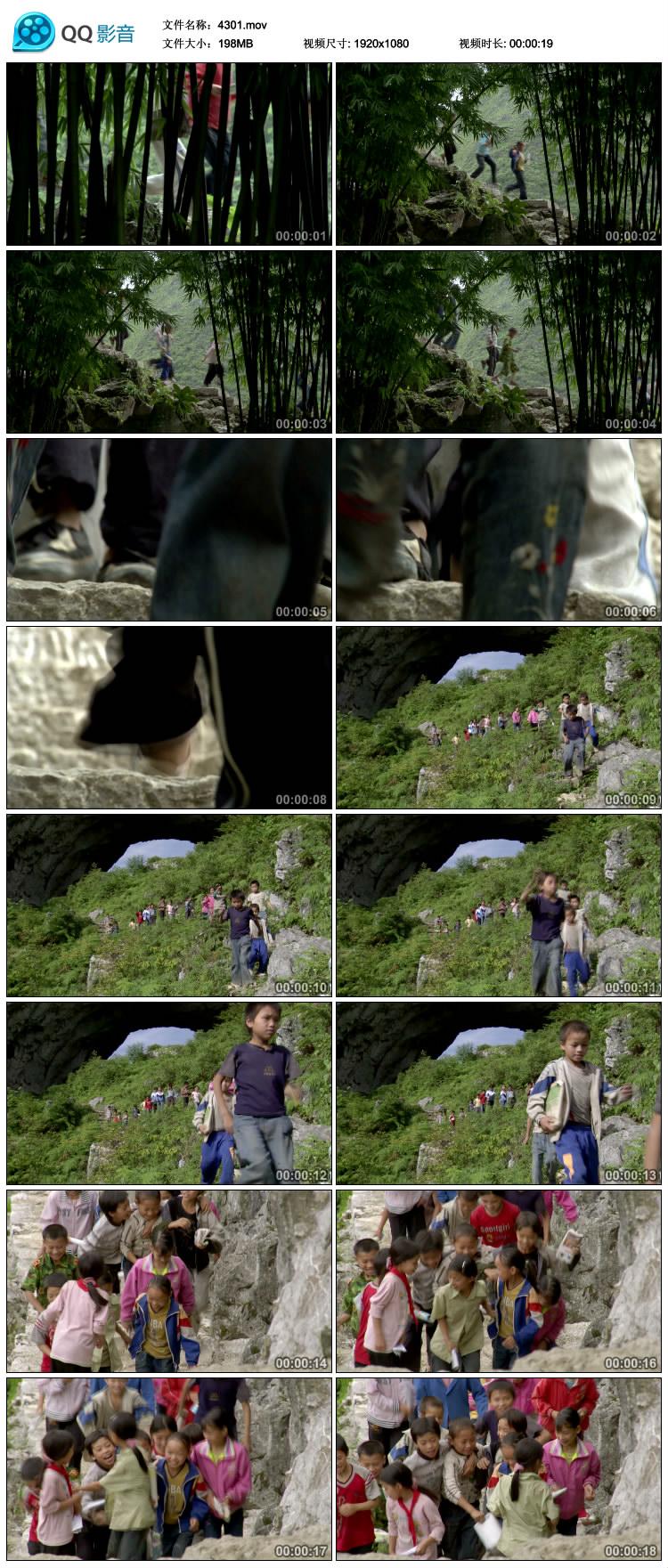 山区小朋友在放学上学的路上山间穿梭下山宣传片视频素材