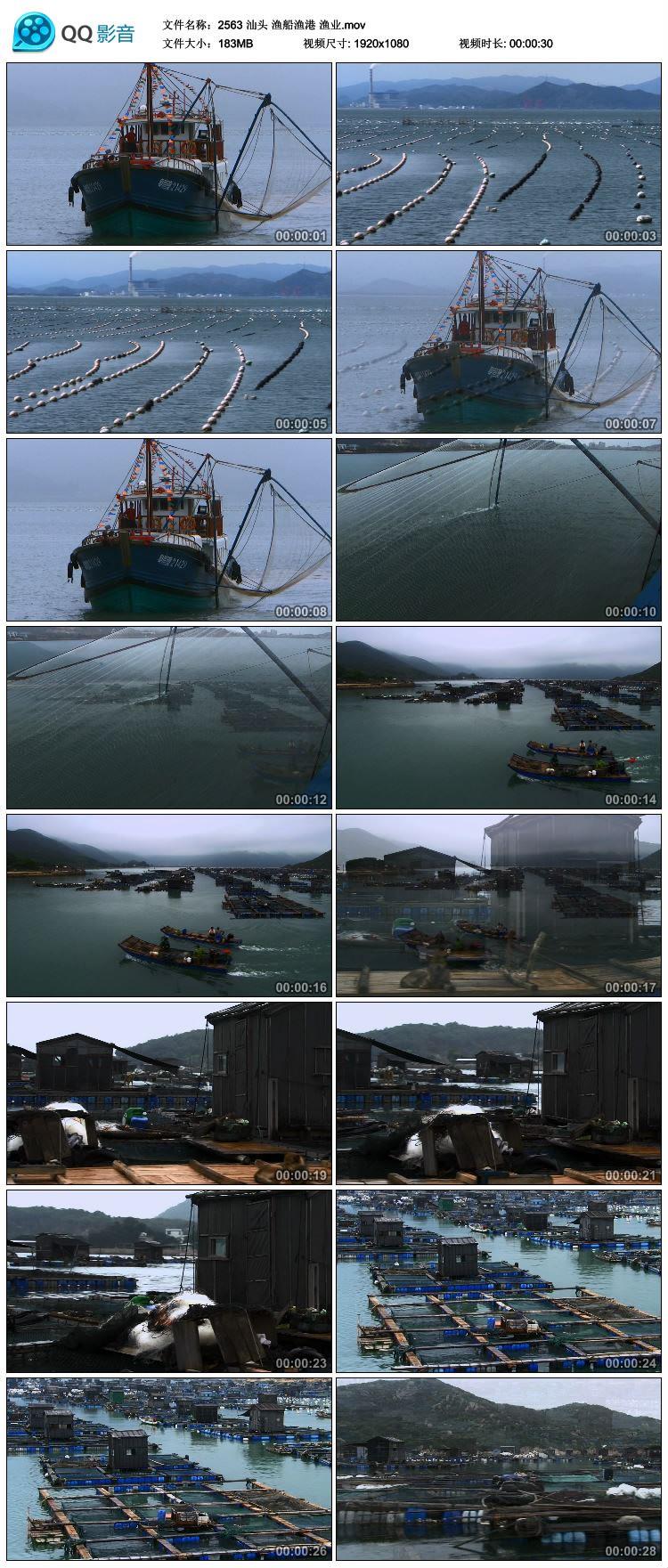 汕头 渔船渔港 渔排渔业 撒网捕鱼 高清实拍视频素材