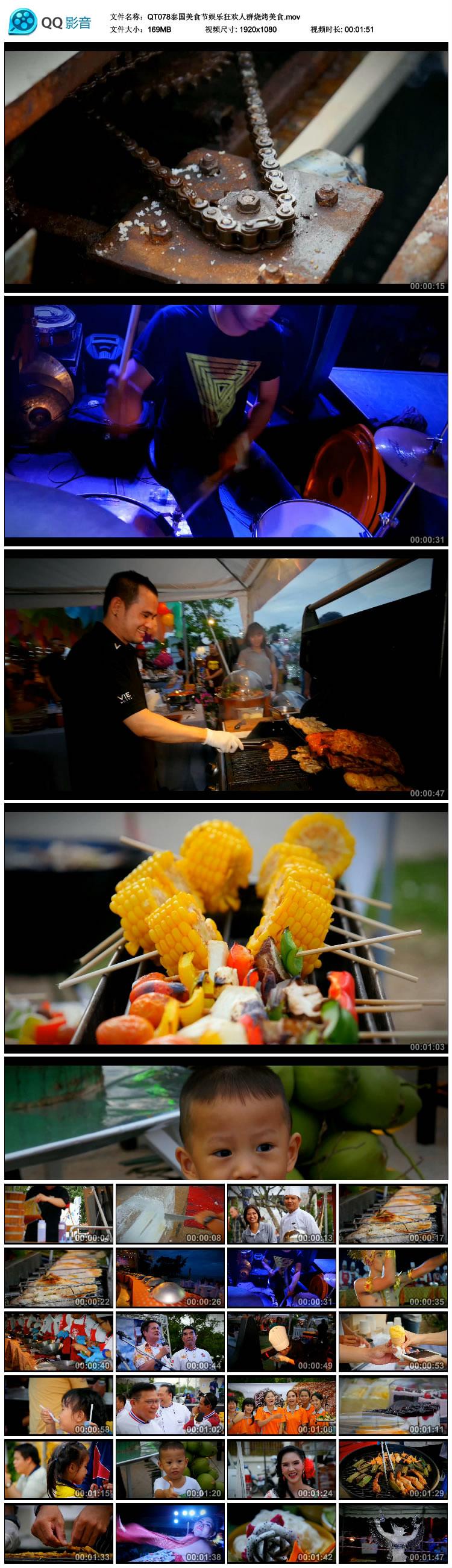 娱乐狂欢人群烧烤美食高清实拍视频素材泰国美食节