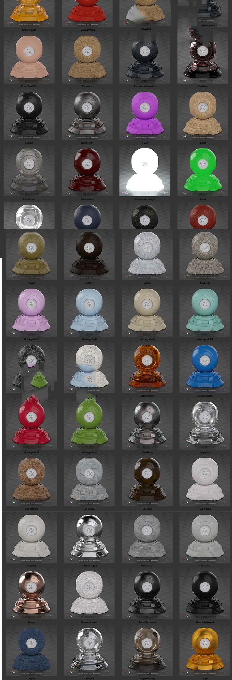 C4D octane金属塑料木纹OC材质球玻璃液体合金纹理贴图素材