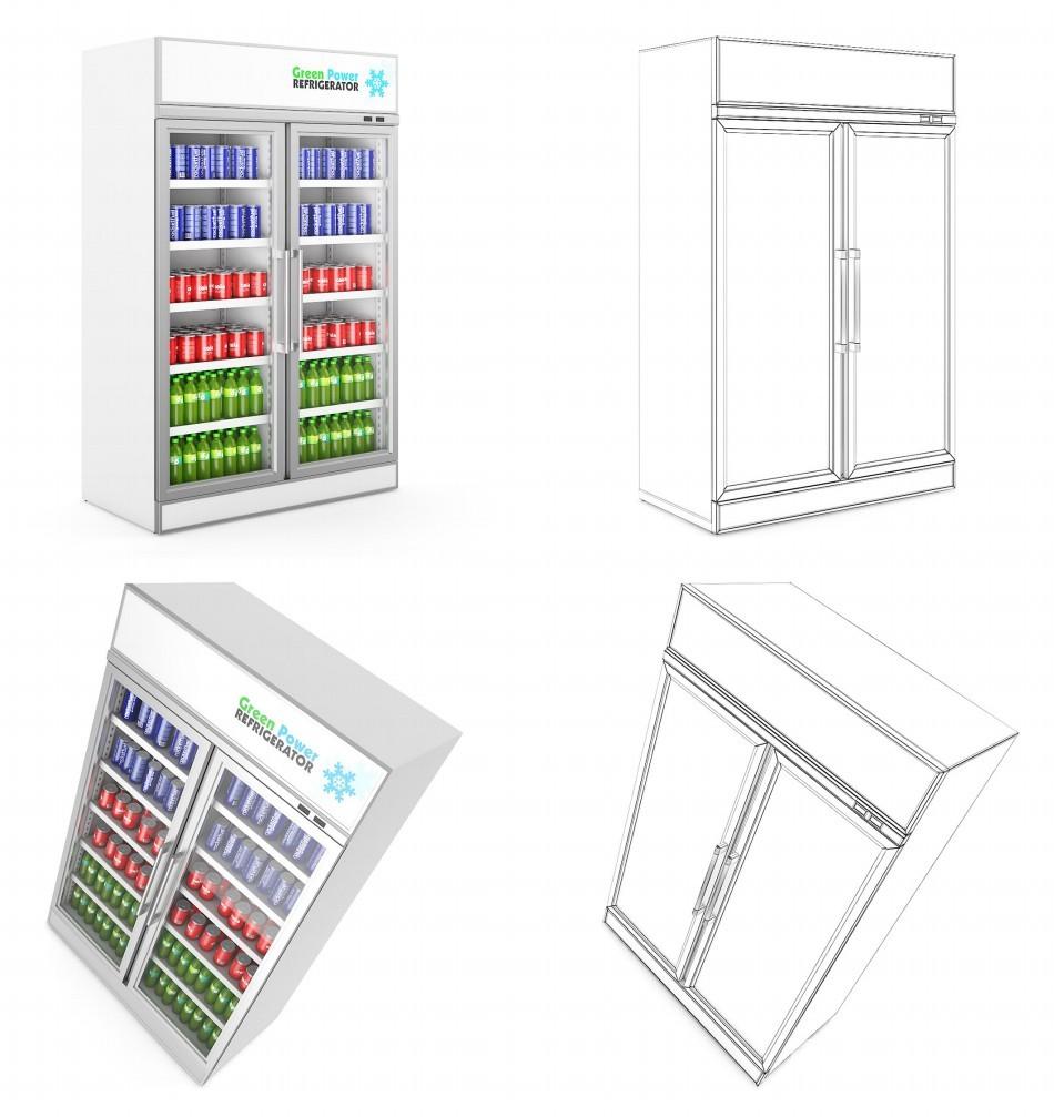 max C4D vRay obj fbx超市货架购物车商品柜材质精细三维模型