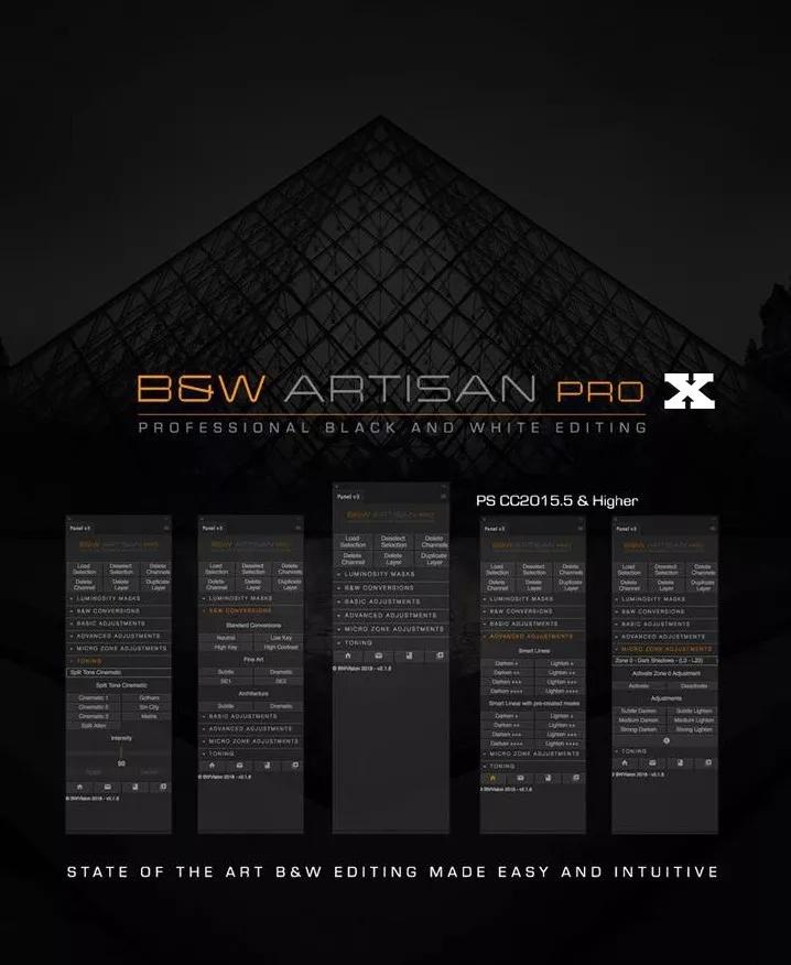 风光黑白明度蒙版扩展汉化版 B&W ARTISAN PRO X