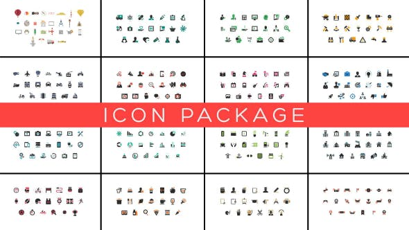 AE模板-382个扁平化日常生活社交媒体网络小图标动画 Icon Package